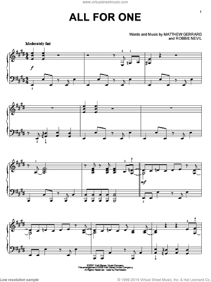 All For One, (intermediate) sheet music for piano solo by High School Musical 2, Matthew Gerrard and Robbie Nevil, intermediate skill level