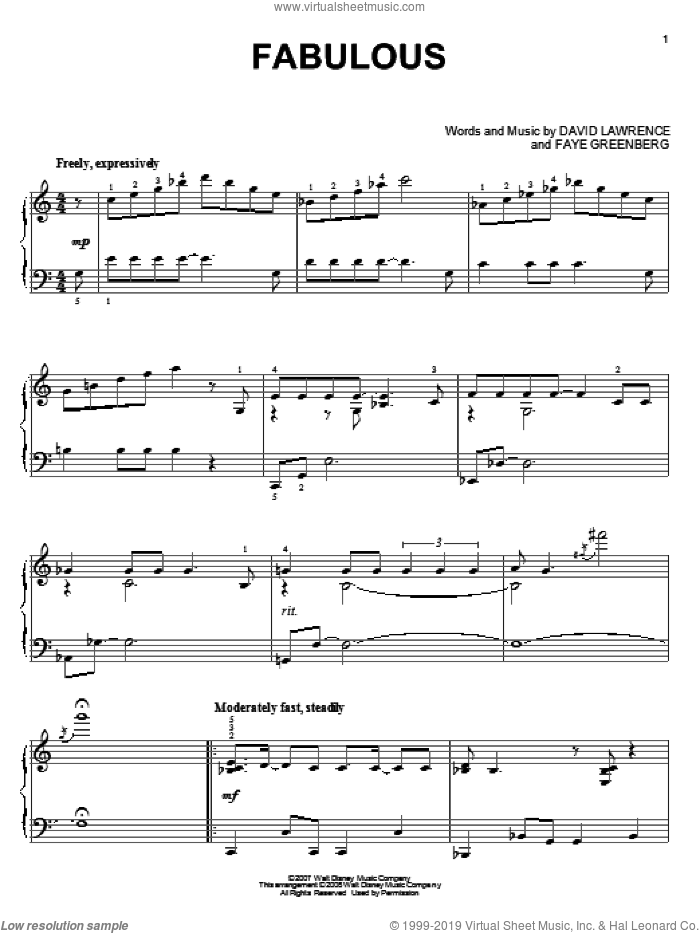 Fabulous sheet music for piano solo by High School Musical 2 and David Lawrence, intermediate. Score Image Preview.