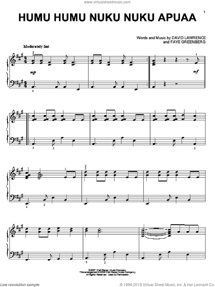 Humu Humu Nuku Nuku Apuaa sheet music for piano solo by Faye Greenberg, High School Musical 2 and David Lawrence. Score Image Preview.