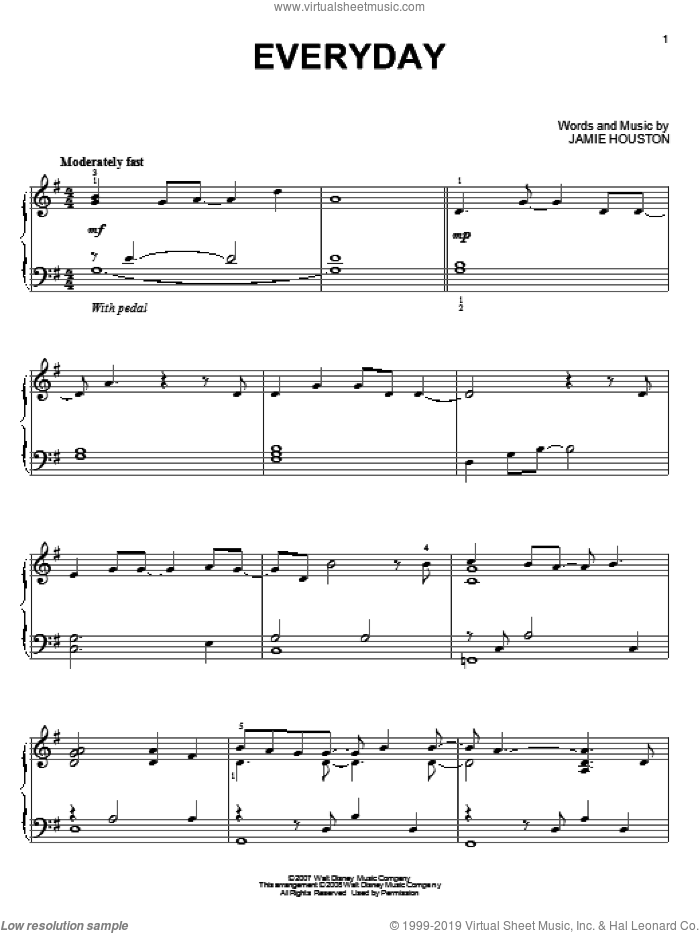 Everyday, (intermediate) sheet music for piano solo by High School Musical 2 and Jamie Houston, intermediate skill level