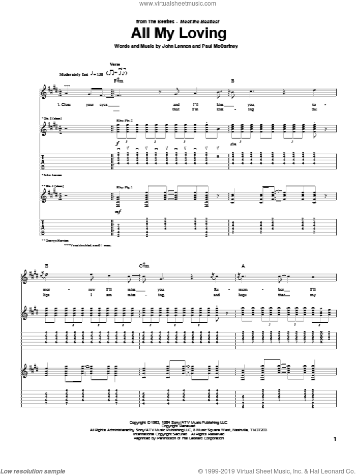 All My Loving sheet music for guitar (tablature) by The Beatles, John Lennon and Paul McCartney, intermediate guitar (tablature). Score Image Preview.