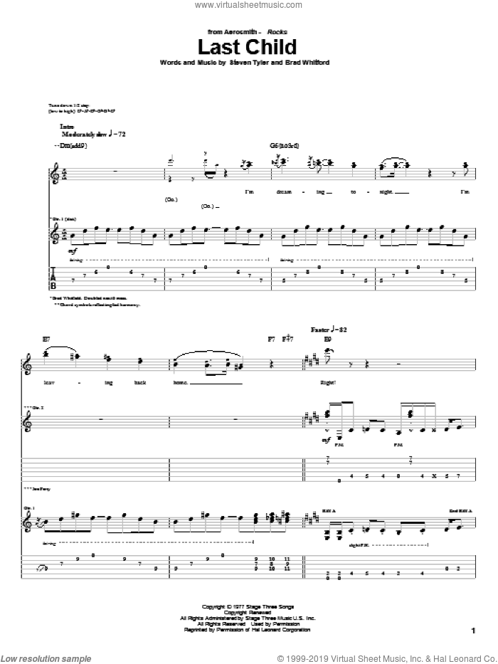 Last Child sheet music for guitar (tablature) by Steven Tyler and Aerosmith. Score Image Preview.