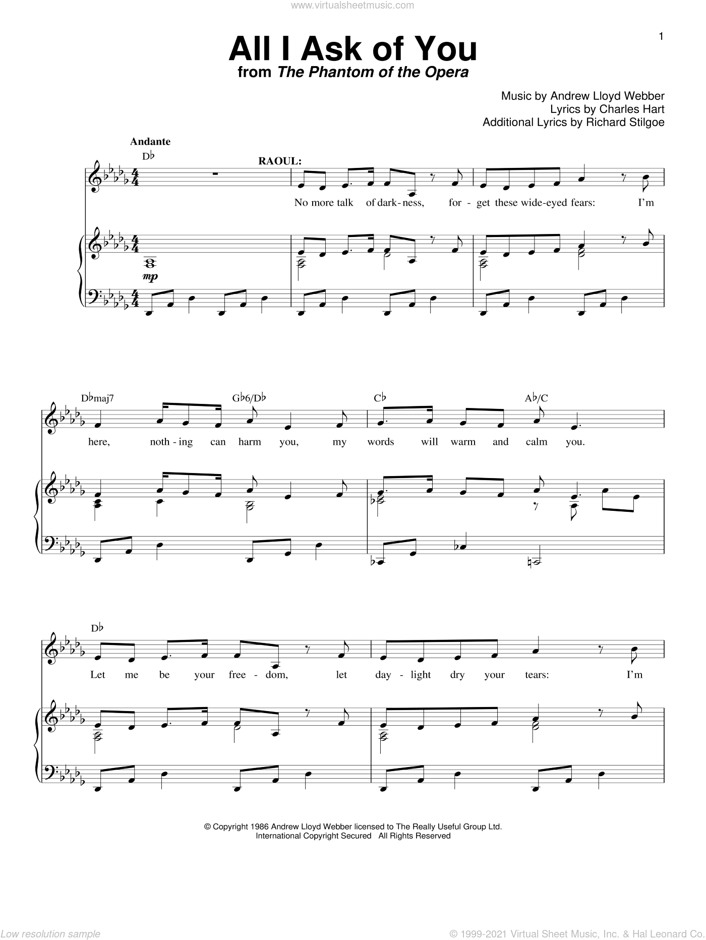 All I Ask Of You (from The Phantom Of The Opera) sheet music for voice and piano by Andrew Lloyd Webber, The Phantom Of The Opera (Musical), Charles Hart and Richard Stilgoe, wedding score, intermediate skill level