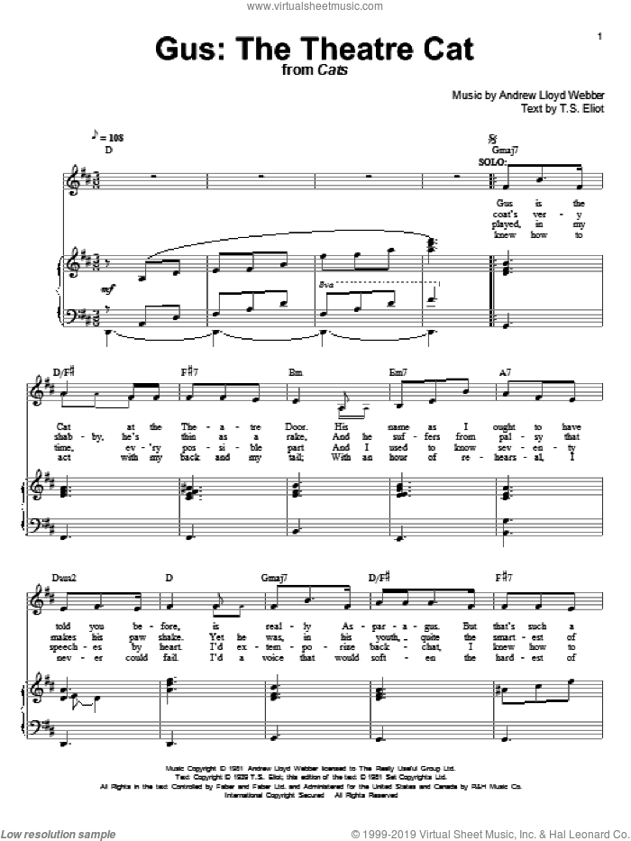 Gus: The Theatre Cat sheet music for voice and piano by T.S. Eliot and Andrew Lloyd Webber. Score Image Preview.