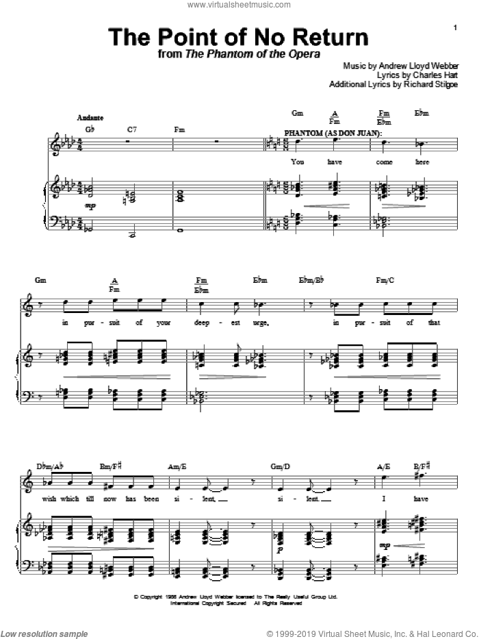 The Point Of No Return (from The Phantom Of The Opera) sheet music for voice and piano by Andrew Lloyd Webber, The Phantom Of The Opera (Musical), Charles Hart and Richard Stilgoe, intermediate skill level