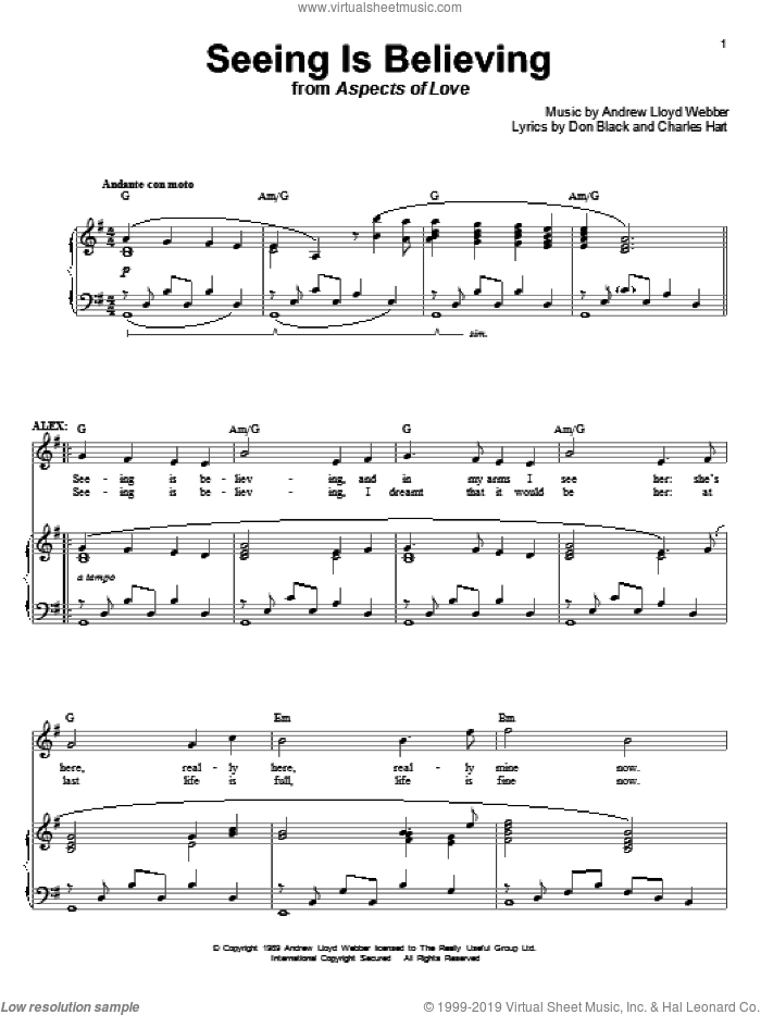 Seeing Is Believing (from Aspects of Love) sheet music for voice and piano by Andrew Lloyd Webber, Aspects Of Love (Musical), Charles Hart and Don Black, intermediate skill level