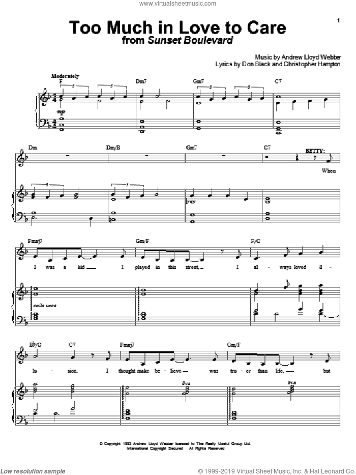 Too Much In Love To Care sheet music for voice and piano by Andrew Lloyd Webber, Christopher Hampton and Don Black, intermediate skill level