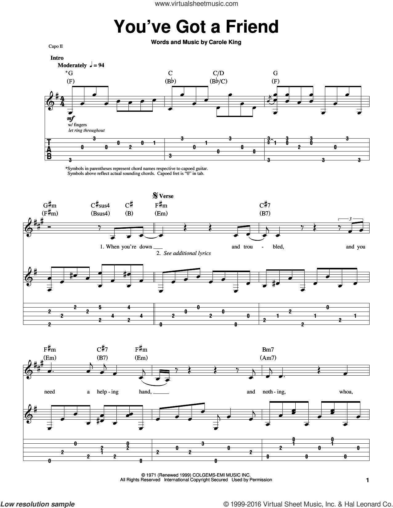 You've Got A Friend sheet music for guitar (tablature, play-along) by James Taylor and Carole King. Score Image Preview.