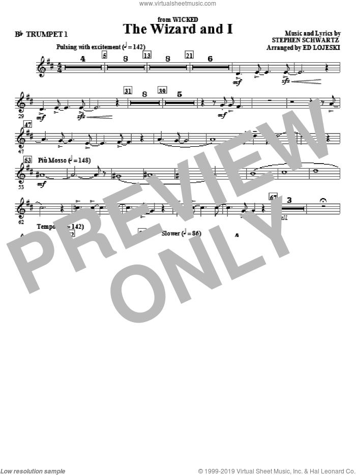 The Wizard And I (complete set of parts) sheet music for orchestra/band by Stephen Schwartz and Ed Lojeski, intermediate