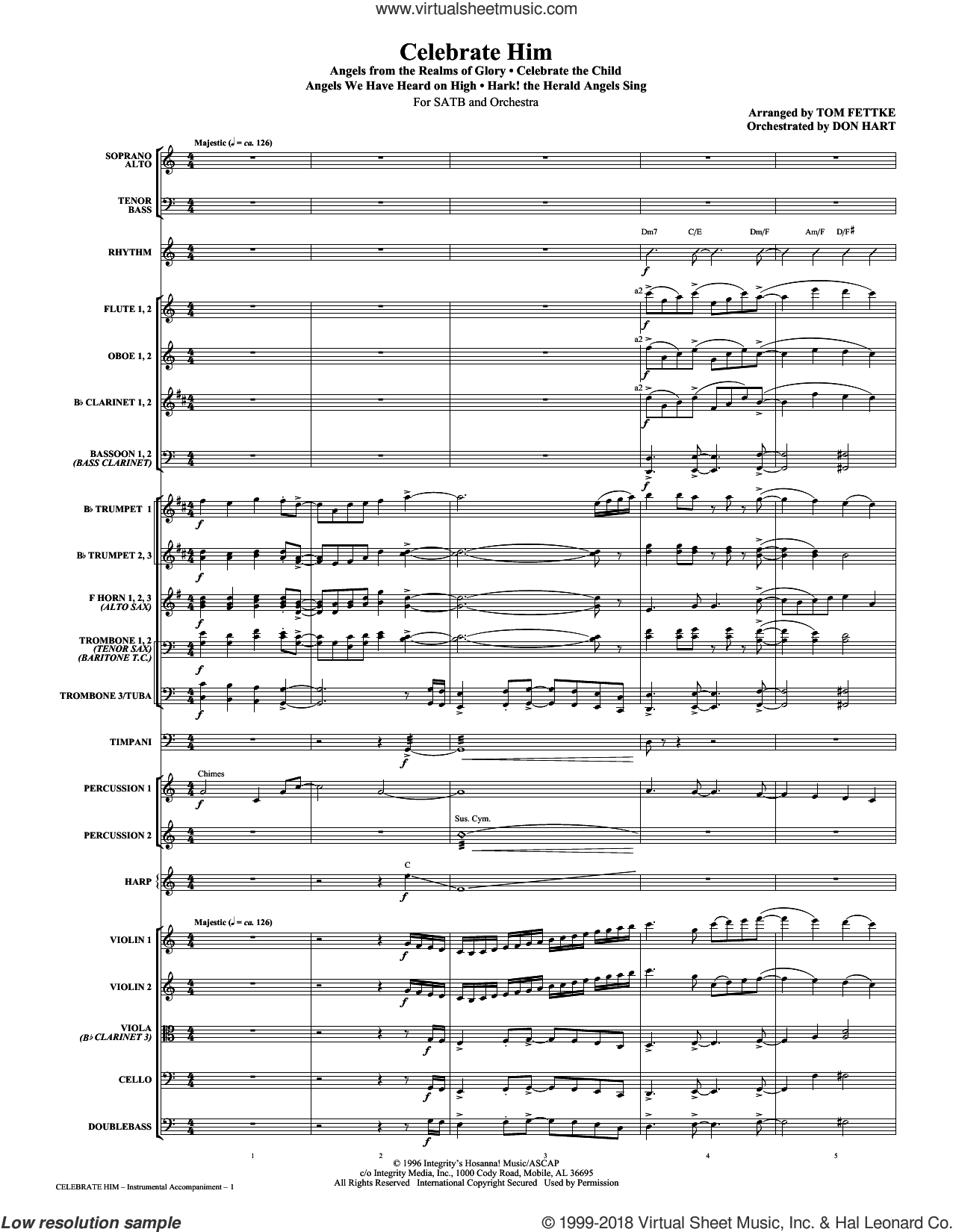 Celebrate Him (Medley) (COMPLETE) sheet music for orchestra/band (Orchestra) by Michael Card and Tom Fettke, intermediate skill level