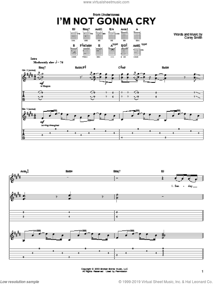I'm Not Gonna Cry sheet music for guitar (tablature) by Corey Smith. Score Image Preview.