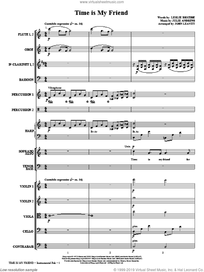 Time Is My Friend (COMPLETE) sheet music for orchestra/band (chamber ensemble) by Leslie Bricusse, Julie Andrews and John Leavitt, intermediate. Score Image Preview.