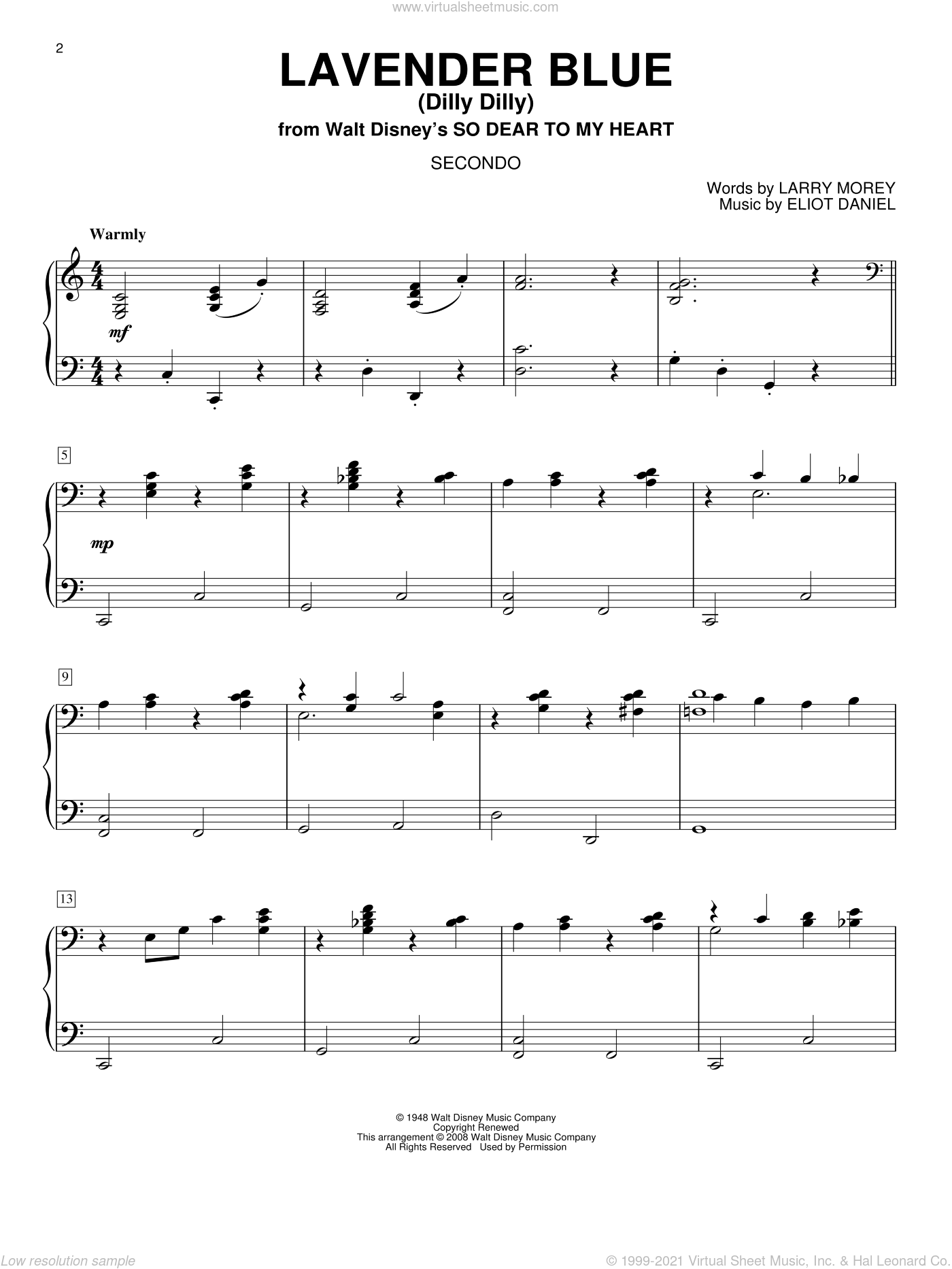 Lavender Blue (Dilly Dilly) sheet music for piano four hands (duets) by Larry Morey and Eliot Daniel. Score Image Preview.