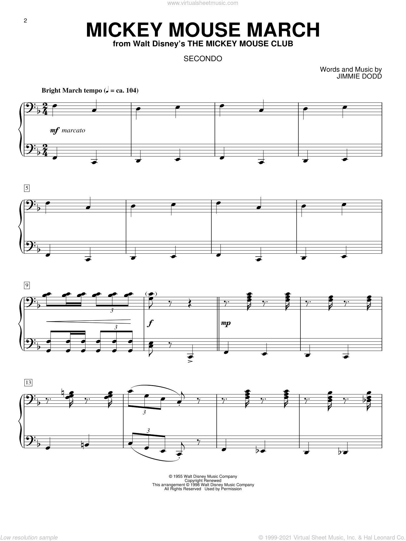 Mickey Mouse March sheet music for piano four hands (duets) by Jimmie Dodd. Score Image Preview.