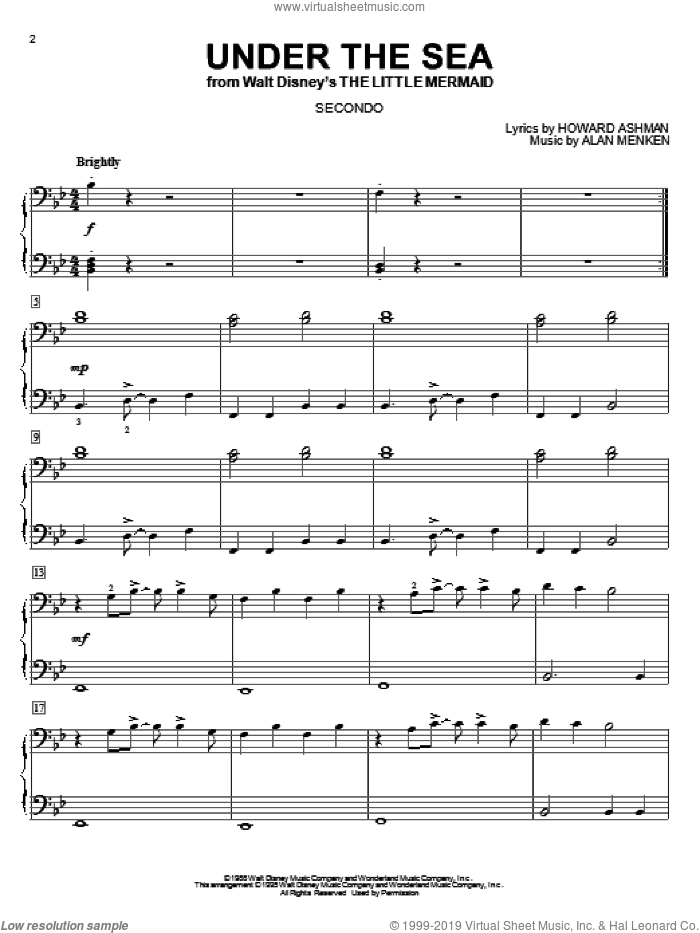 Under The Sea sheet music for piano four hands by Alan Menken and Howard Ashman, intermediate. Score Image Preview.