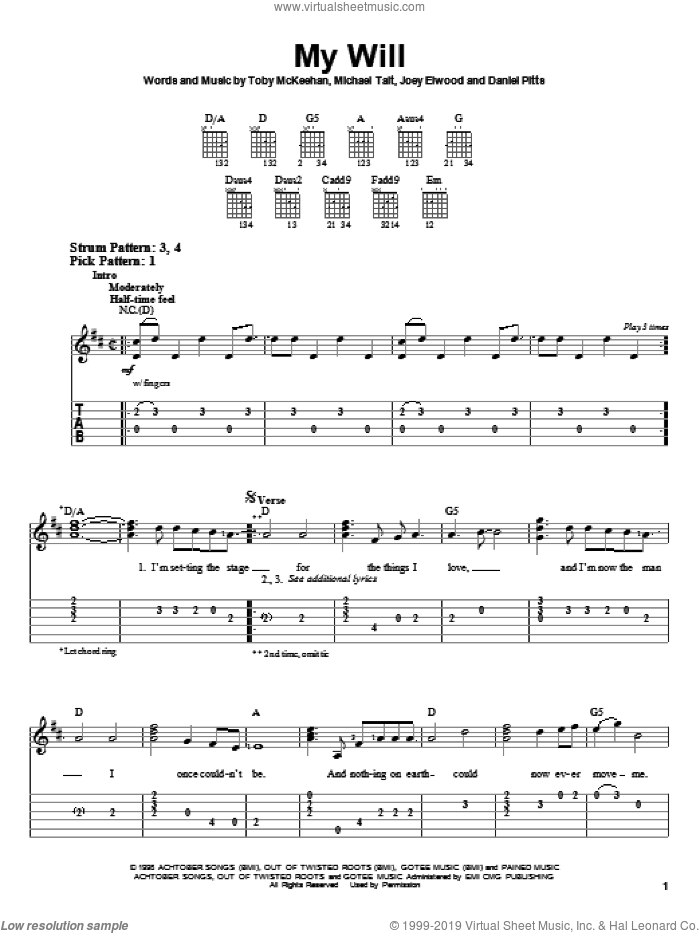 My Will sheet music for guitar solo (easy tablature) by dc Talk, Daniel Pitts, Joey Elwood, Michael Tait and Toby McKeehan, easy guitar (easy tablature)