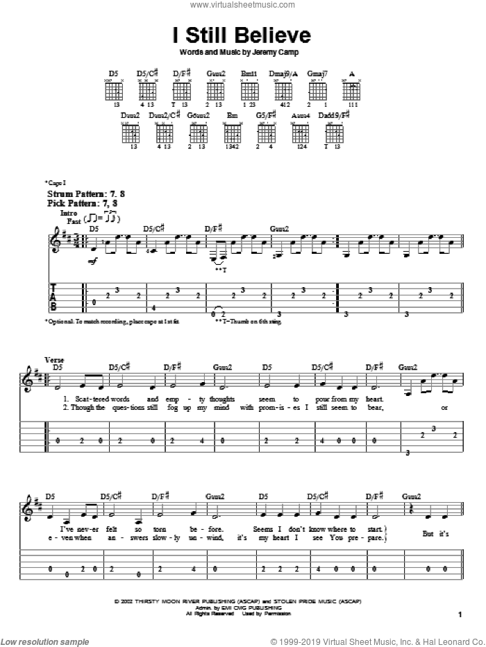 I Still Believe sheet music for guitar solo (easy tablature) by Jeremy Camp, easy guitar (easy tablature). Score Image Preview.