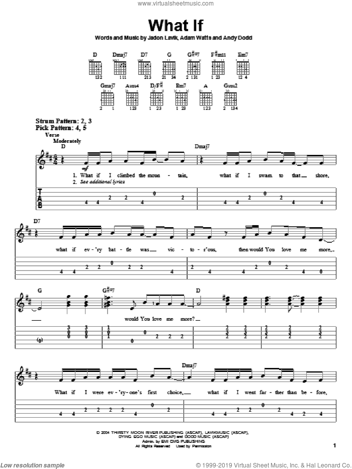 What If sheet music for guitar solo (easy tablature) by Jadon Lavik, Adam Watts and Andy Dodd, easy guitar (easy tablature). Score Image Preview.