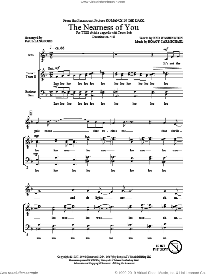 The Nearness Of You sheet music for choir and piano (TTBB) by Hoagy Carmichael, Ned Washington and Paul Langford. Score Image Preview.
