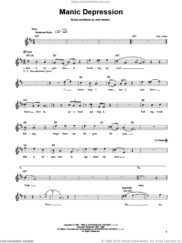 Manic Depression sheet music for guitar solo (chords) by Jimi Hendrix and Yngwie Malmsteen, easy guitar (chords)
