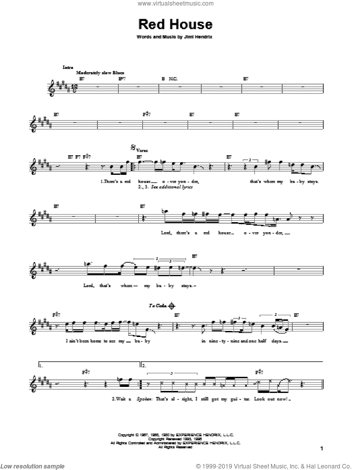 Red House sheet music for guitar solo (chords) by Jimi Hendrix