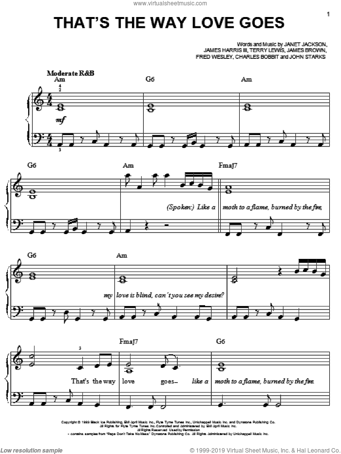 That's The Way Love Goes sheet music for piano solo by Janet Jackson, Charles Bobbit, Fred Wesley, James Brown, James Harris, John Starks and Terry Lewis, easy skill level