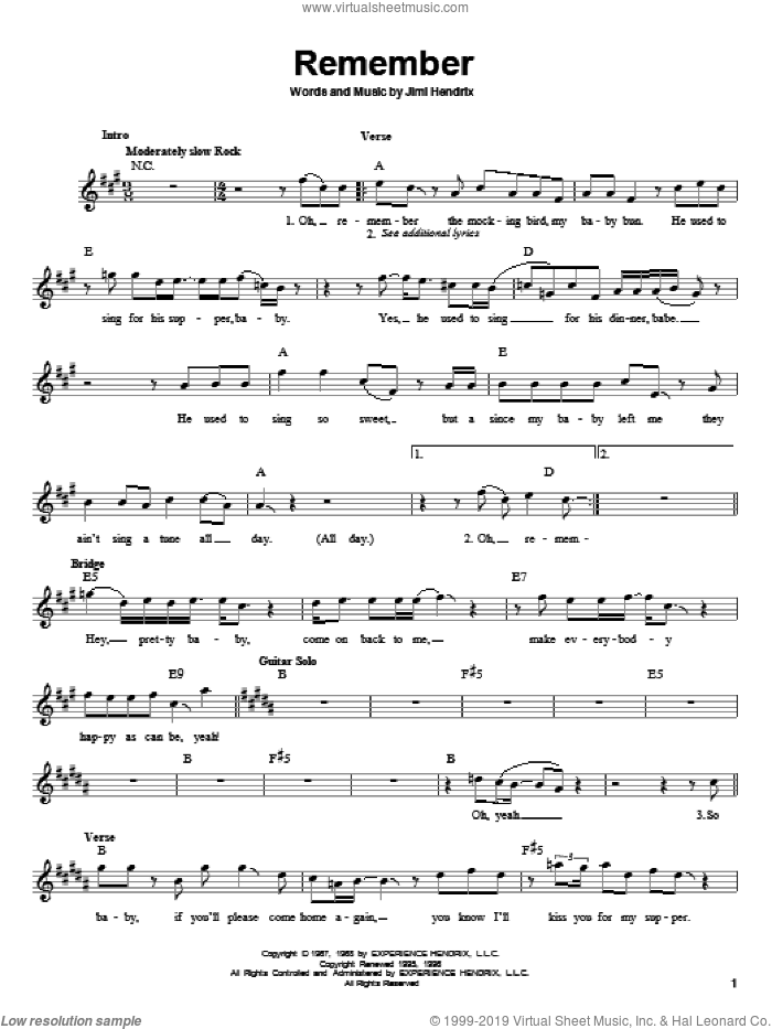 Remember sheet music for guitar solo (chords) by Jimi Hendrix, easy guitar (chords)