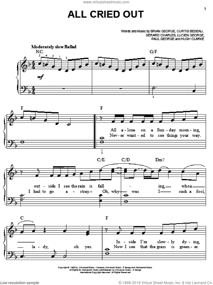 All Cried Out sheet music for piano solo by Lisa Lisa & Cult Jam, Allure, Brian George, Curtis Bedeau, Gerard Charles, Hugh Clarke, Lucien George and Paul George, easy skill level