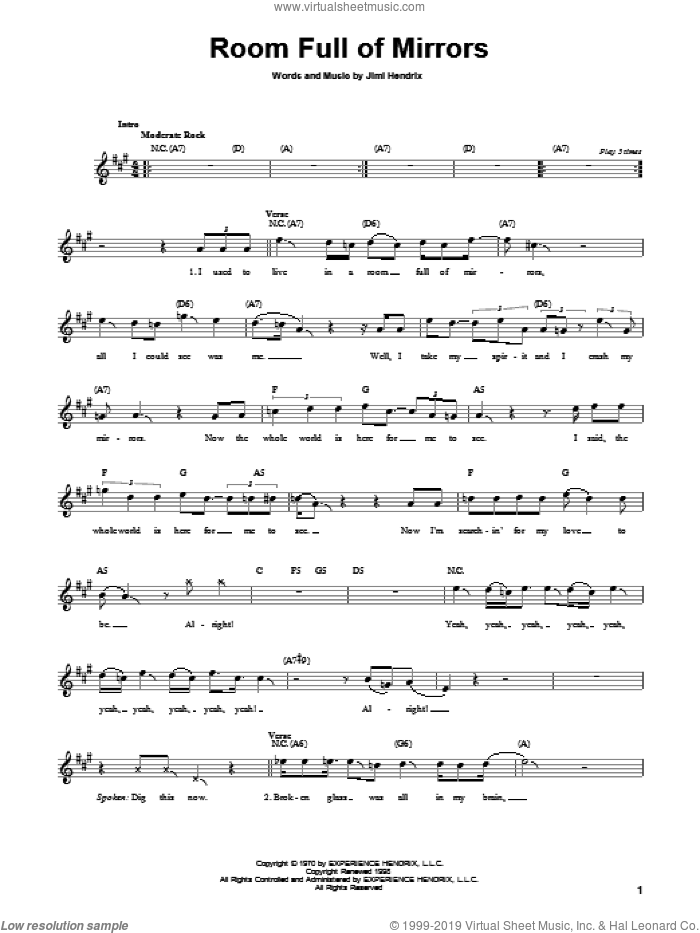 Room Full Of Mirrors sheet music for guitar solo (chords) by Jimi Hendrix and The Pretenders, easy guitar (chords)