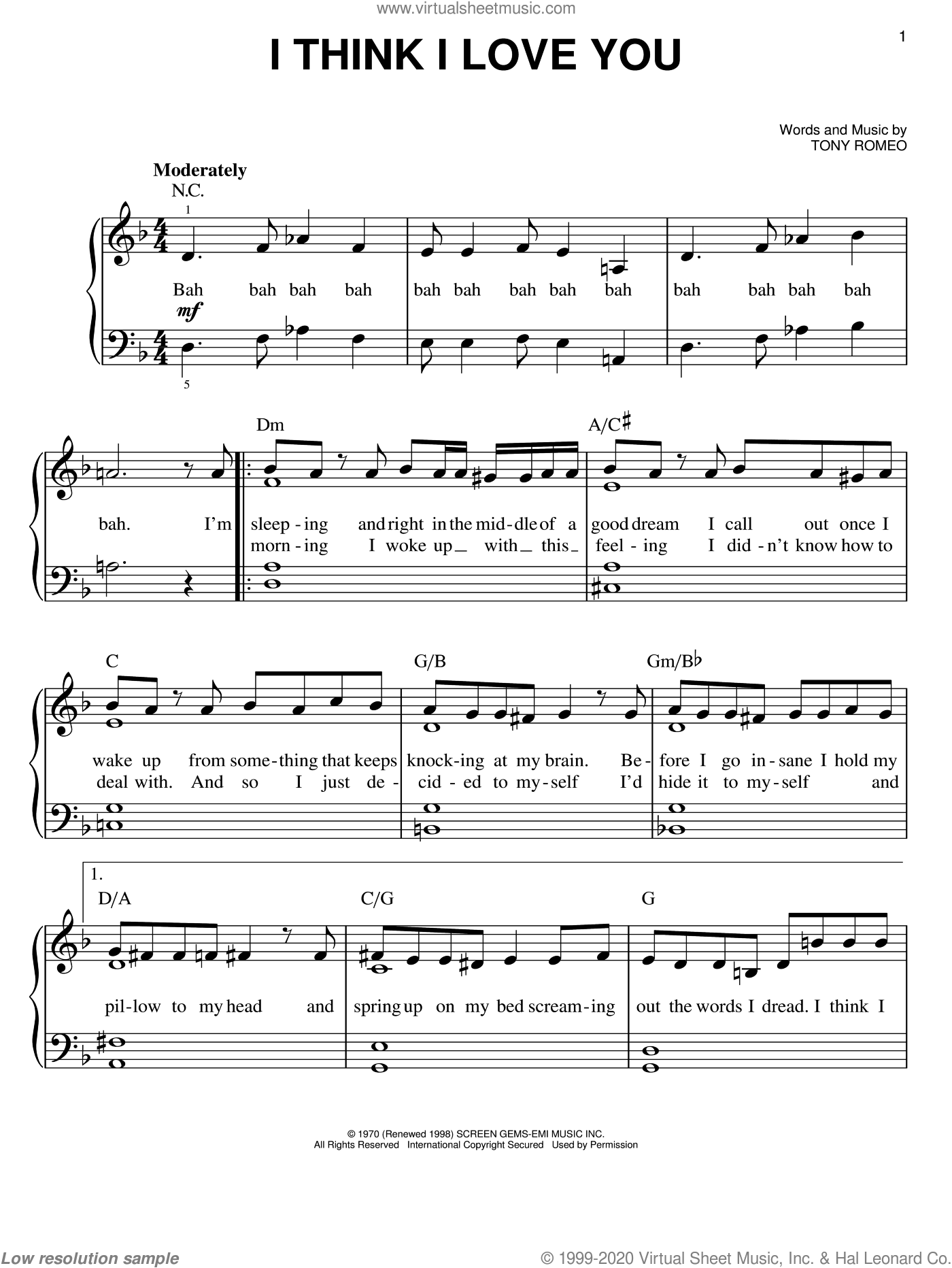I Think I Love You sheet music for piano solo by The Partridge Family and Tony Romeo, easy skill level