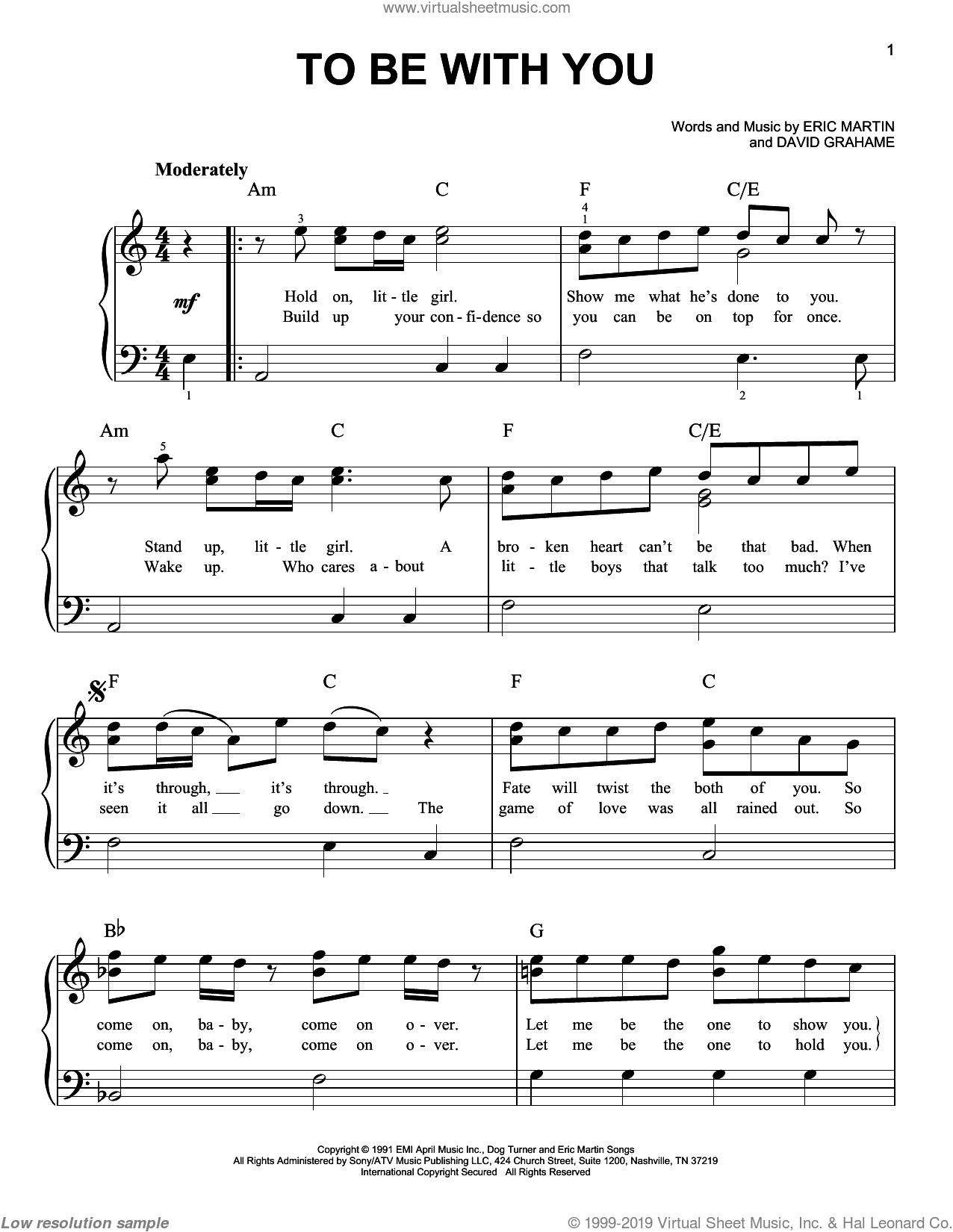 To Be With You sheet music for piano solo by Mr. Big, David Grahame and Eric Martin, easy skill level