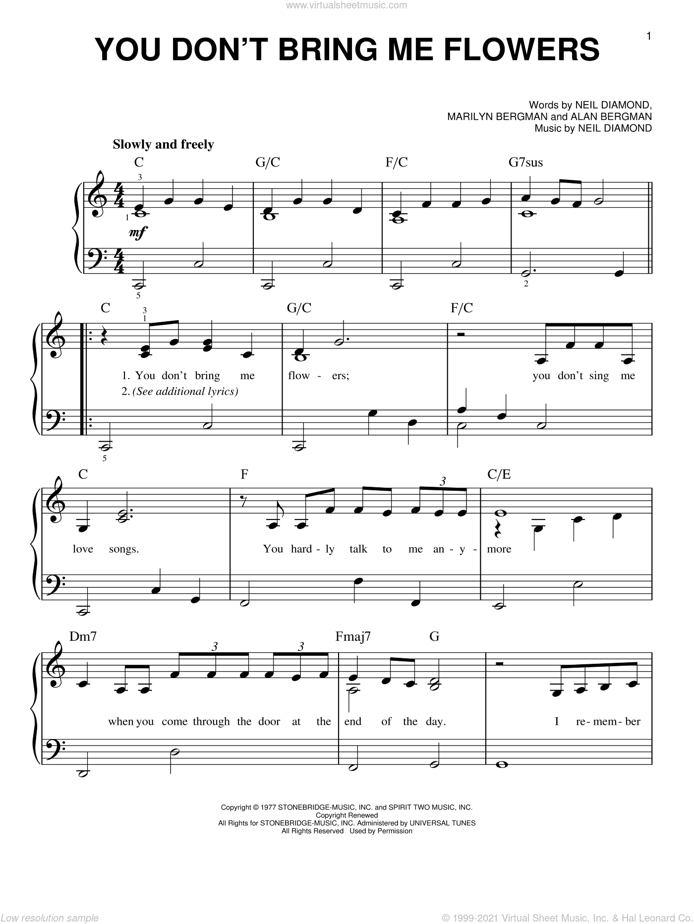 You Don't Bring Me Flowers sheet music for piano solo by Neil Diamond & Barbra Streisand, Barbra Streisand, Alan Bergman, Marilyn Bergman and Neil Diamond, easy skill level