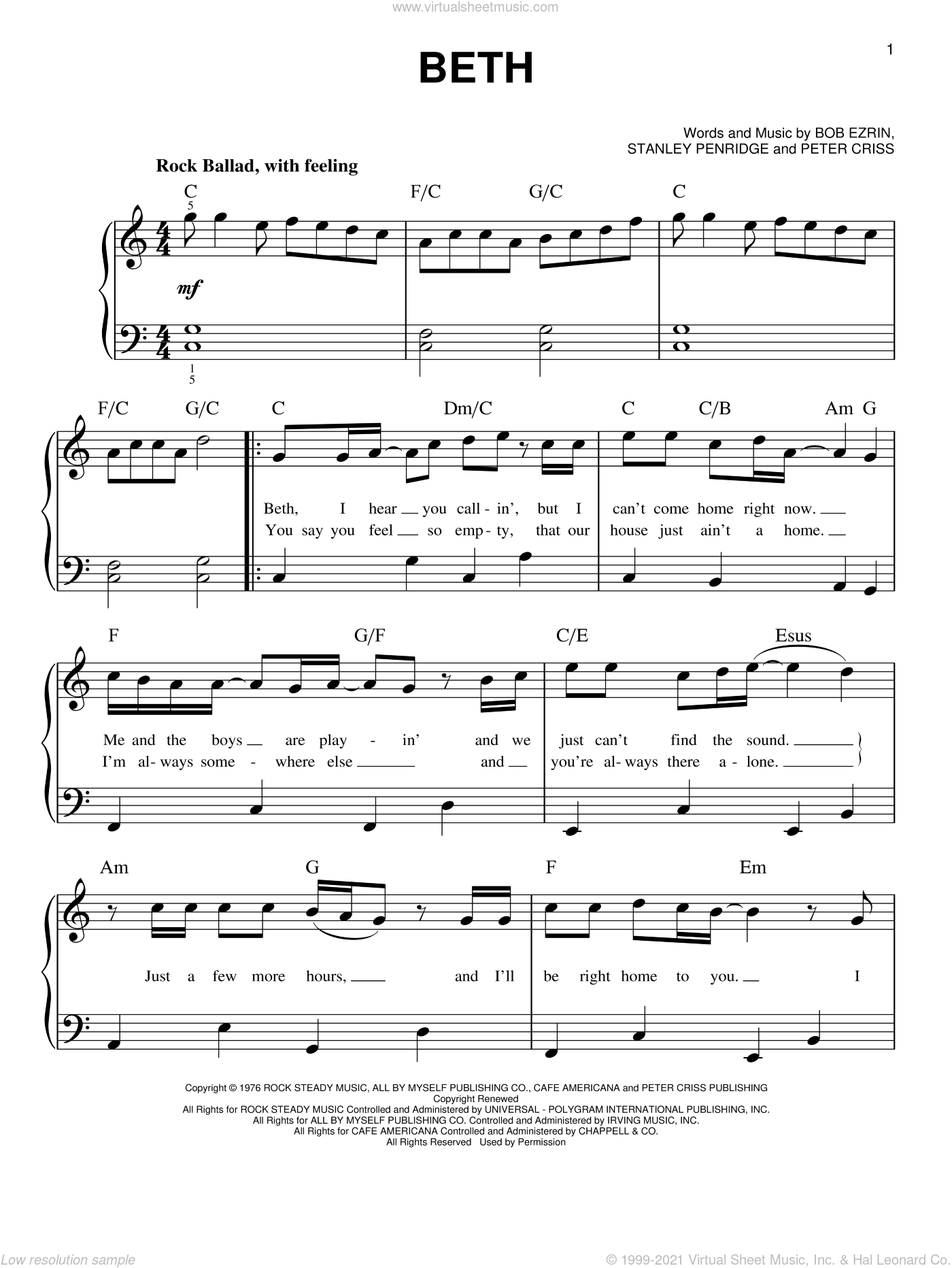 Beth sheet music for piano solo by KISS, Bob Ezrin, Peter Criss and Stan Penridge, beginner skill level