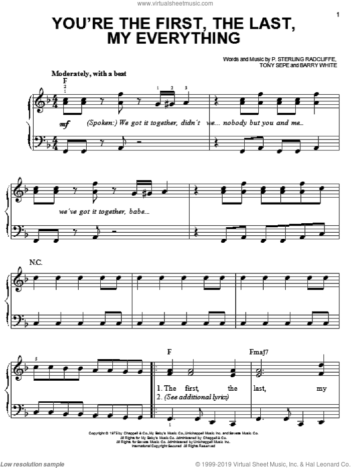 You're The First, The Last, My Everything sheet music for piano solo by Barry White, P. Sterling Radcliffe and Tony Sepe, easy skill level