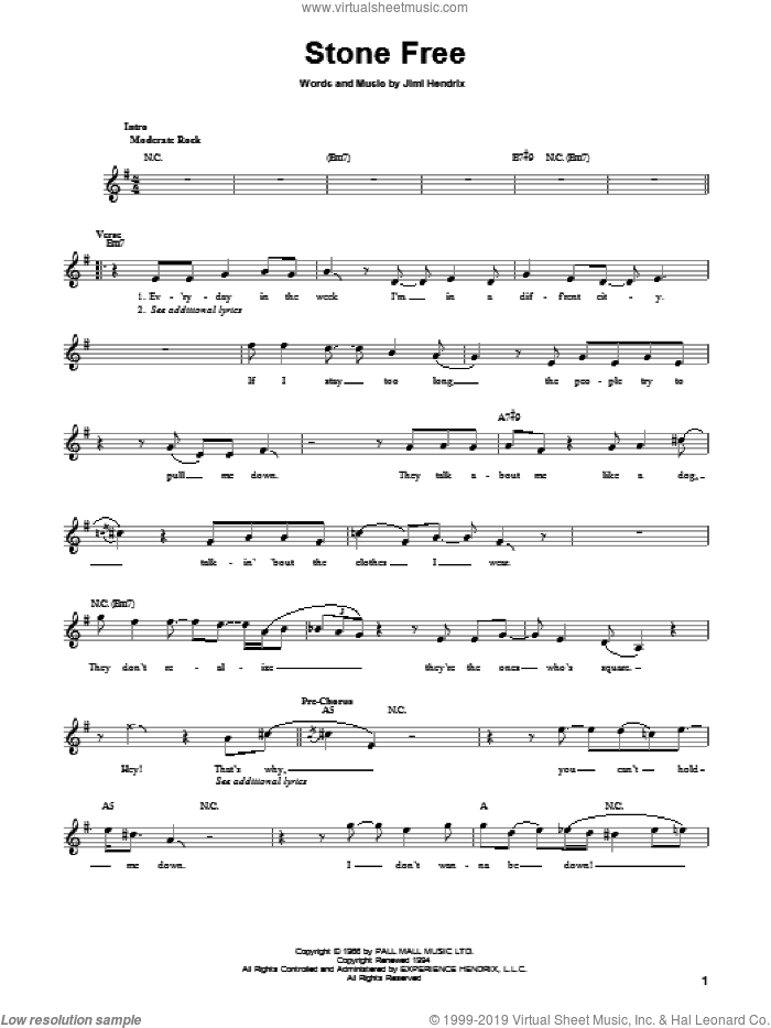 Stone Free sheet music for guitar solo (chords) by Jimi Hendrix and Gil Evans. Score Image Preview.