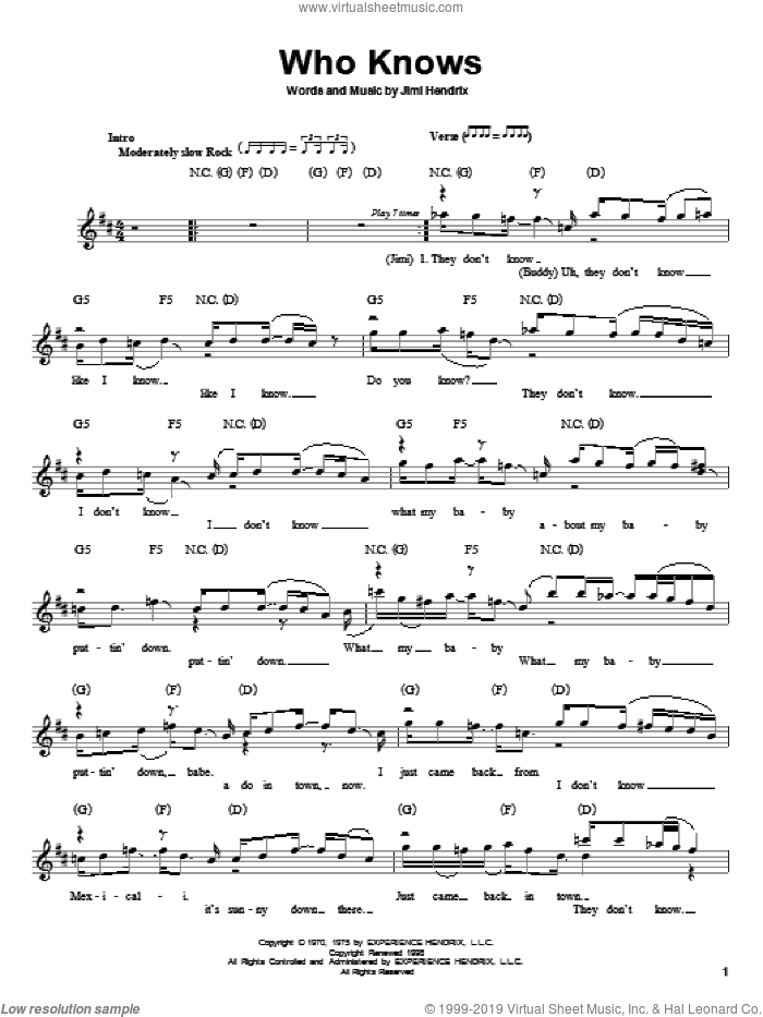 Who Knows sheet music for guitar solo (chords) by Jimi Hendrix. Score Image Preview.