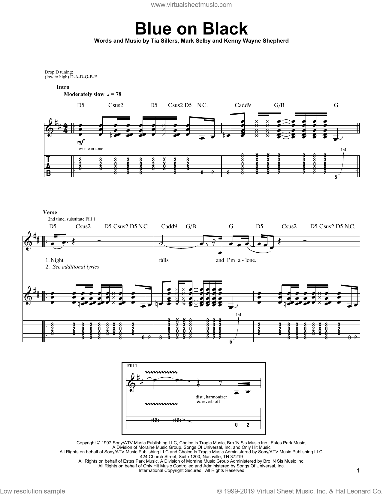 Blue On Black sheet music for guitar (tablature, play-along) by Tia Sillers, Kenny Wayne Shepherd and Mark Selby. Score Image Preview.