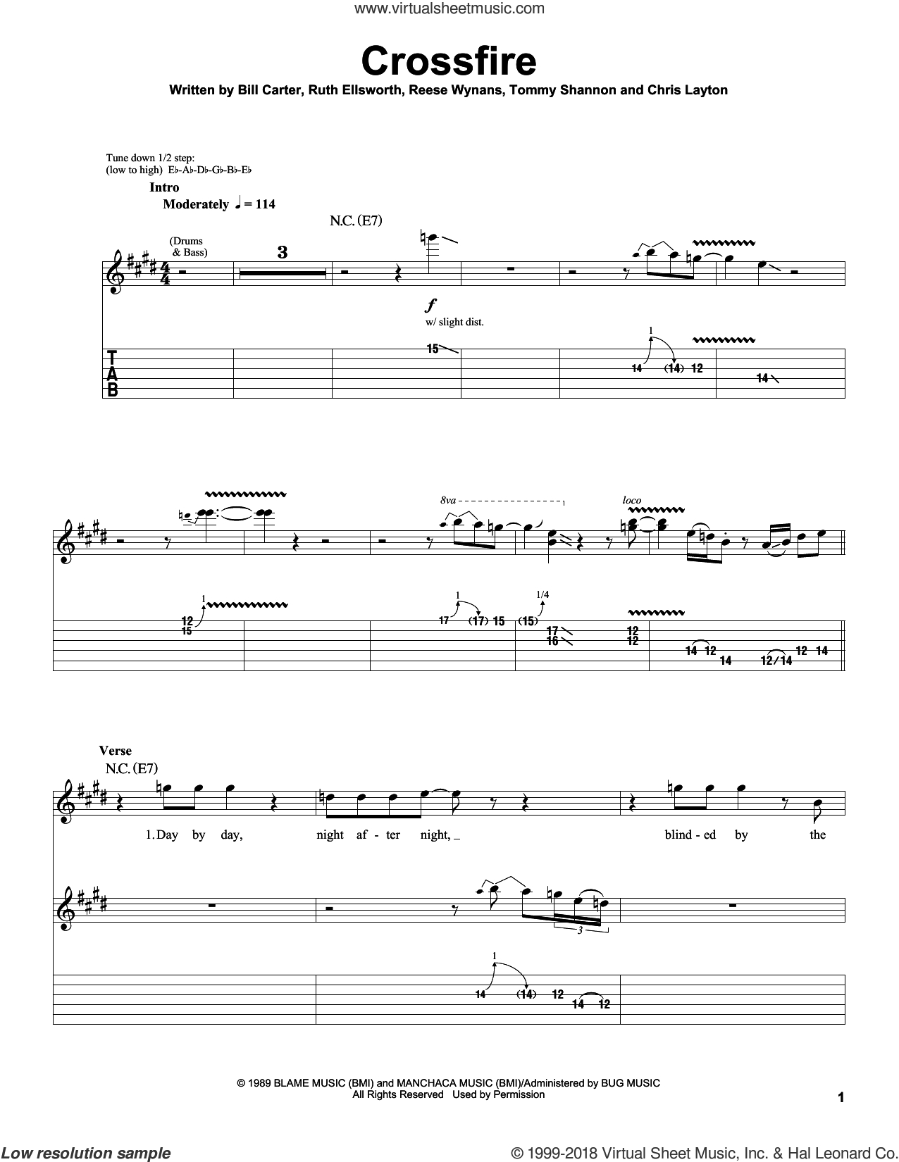 Crossfire sheet music for guitar (tablature, play-along) by Ruth Ellsworth and Stevie Ray Vaughan. Score Image Preview.