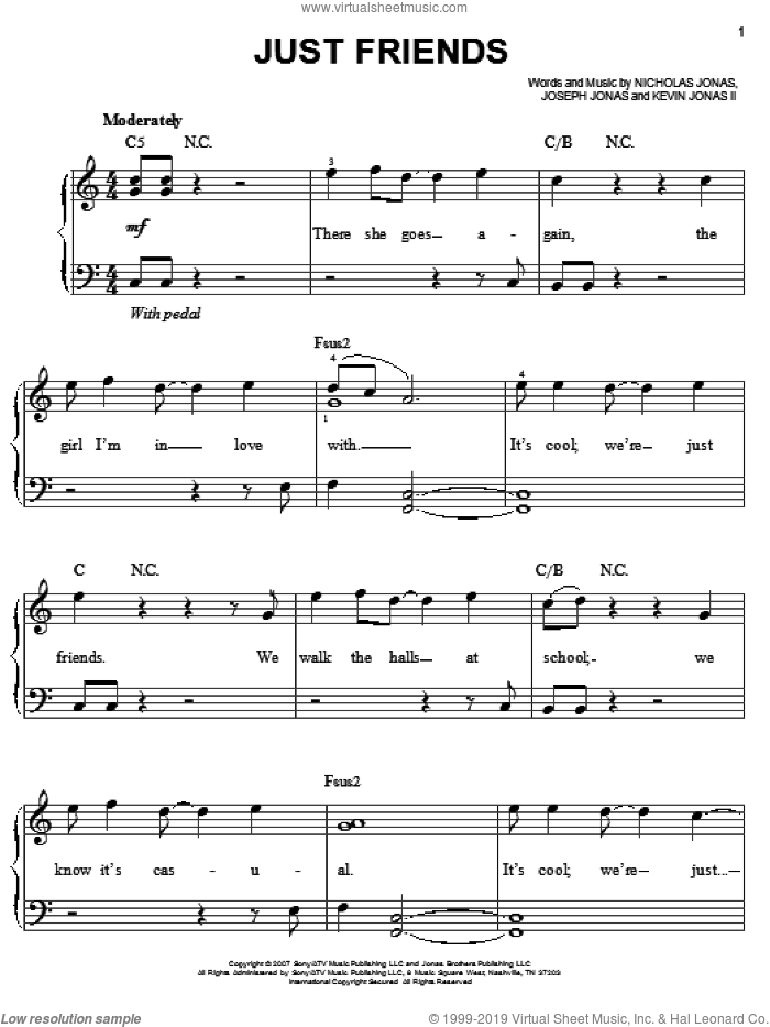 Just Friends sheet music for piano solo by Jonas Brothers, Joseph Jonas, Kevin Jonas II and Nicholas Jonas, easy skill level