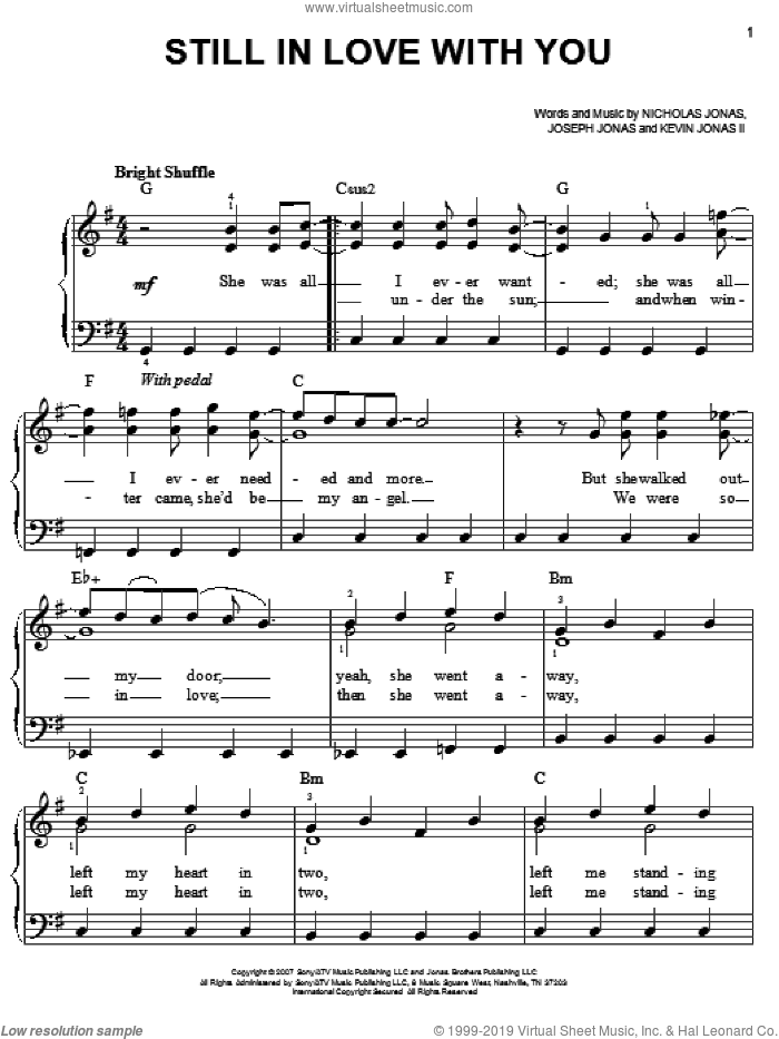 Still In Love With You sheet music for piano solo by Jonas Brothers and Nicholas Jonas, easy. Score Image Preview.