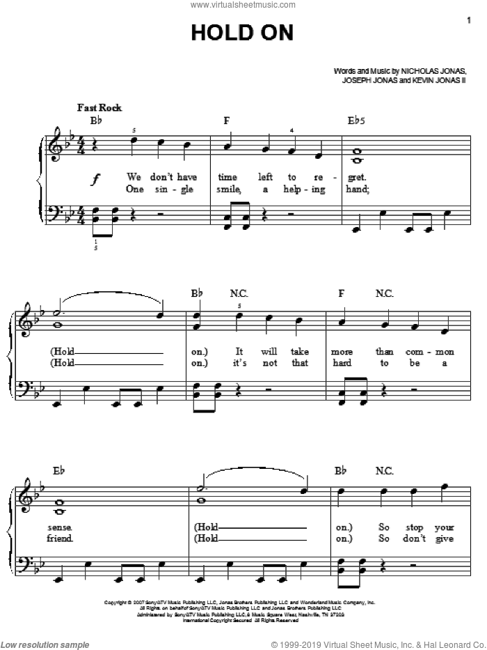 Hold On sheet music for piano solo by Nicholas Jonas and Joseph Jonas. Score Image Preview.