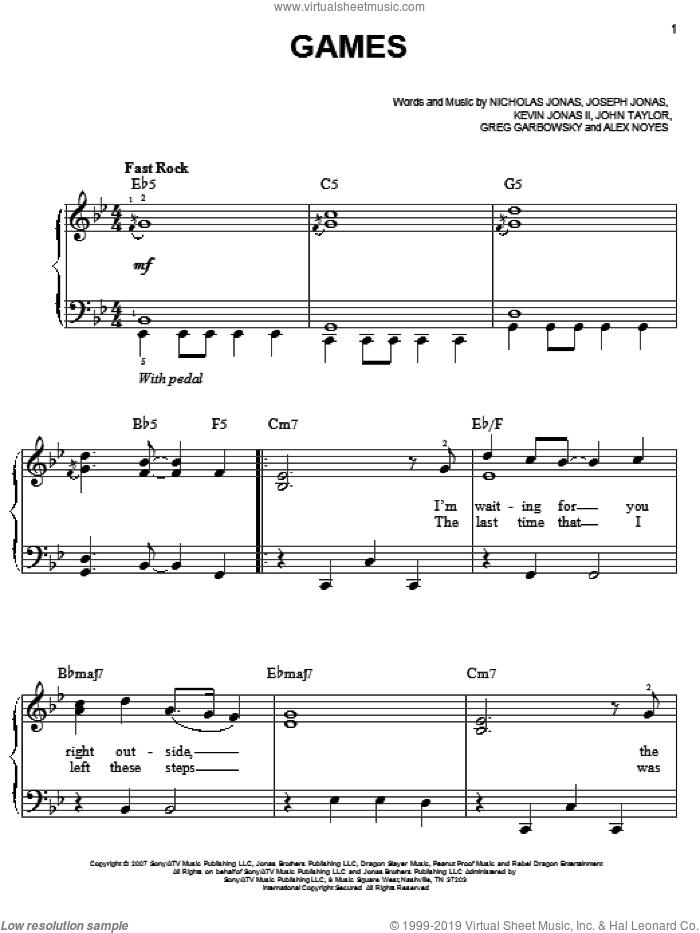 Games sheet music for piano solo by Jonas Brothers, Alex Noyes, Greg Garbowsky, John Taylor, Joseph Jonas, Kevin Jonas II and Nicholas Jonas, easy skill level