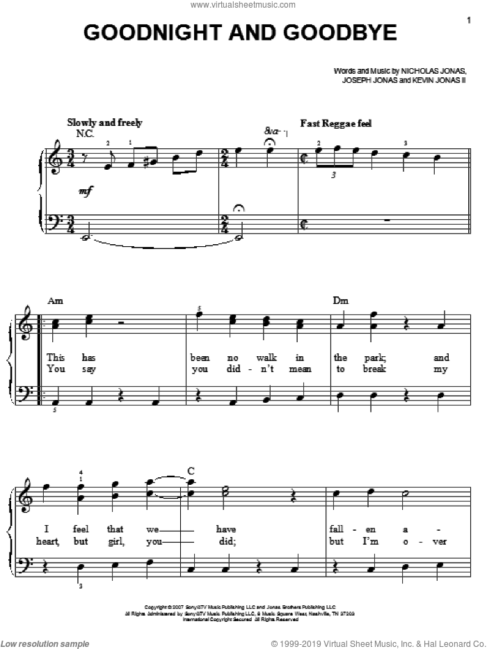 Goodnight And Goodbye sheet music for piano solo by Nicholas Jonas and Joseph Jonas. Score Image Preview.