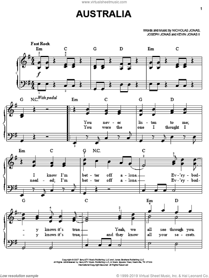 Australia sheet music for piano solo by Jonas Brothers, Joseph Jonas, Kevin Jonas II and Nicholas Jonas, easy skill level