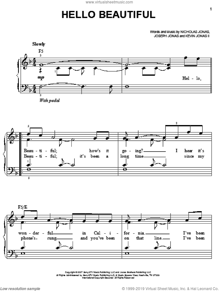 Hello Beautiful sheet music for piano solo by Nicholas Jonas and Joseph Jonas. Score Image Preview.