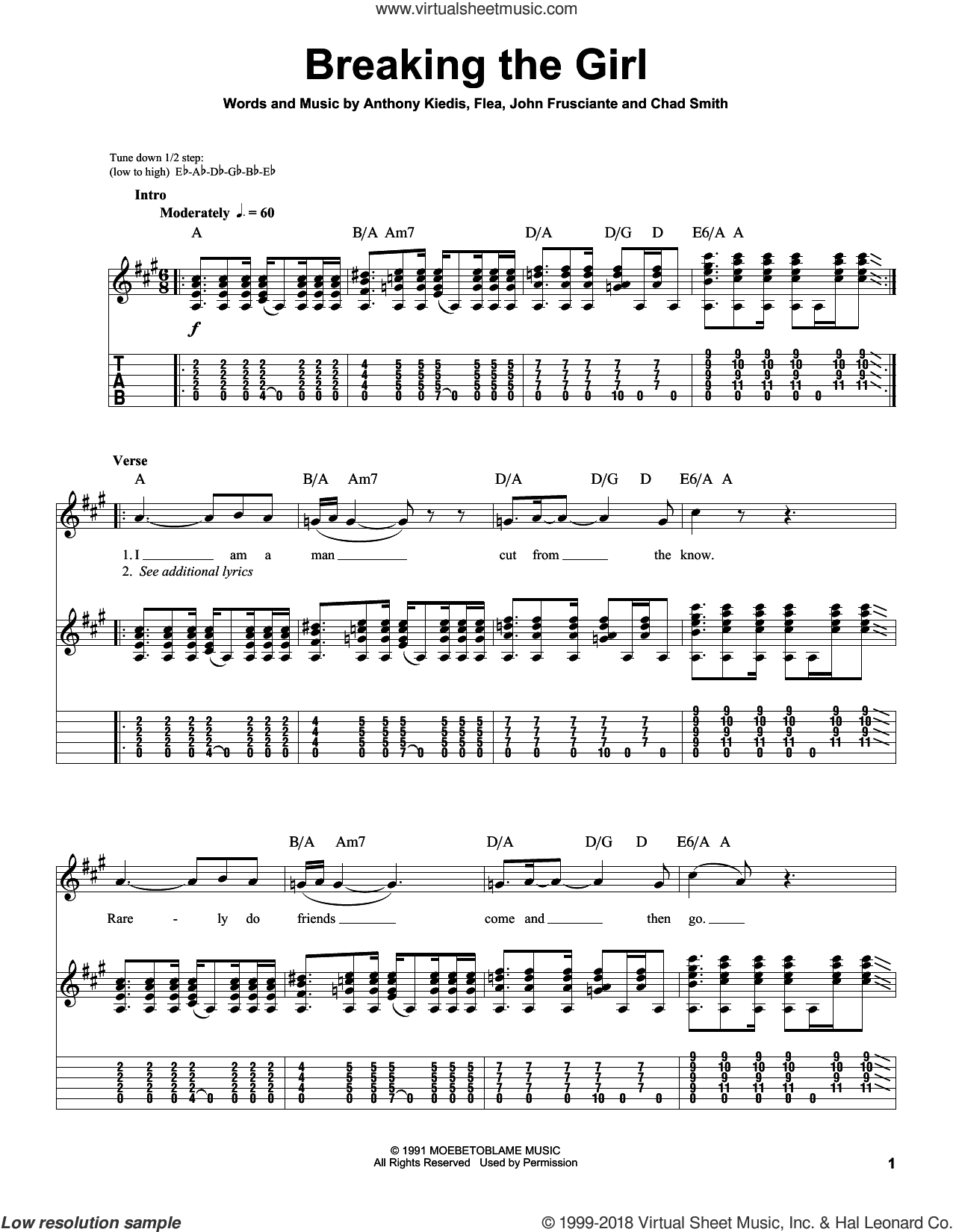 Breaking The Girl sheet music for guitar (tablature, play-along) by Red Hot Chili Peppers, intermediate. Score Image Preview.