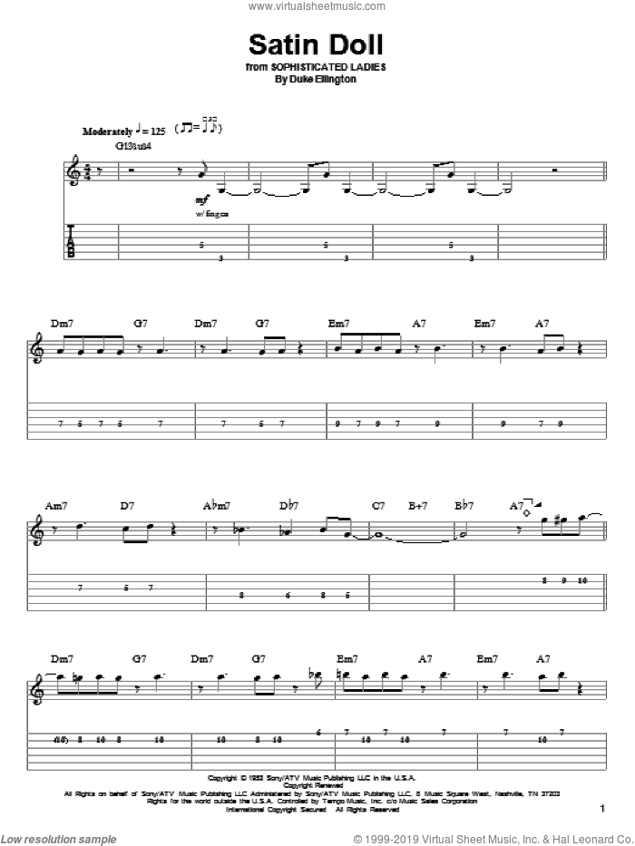 Satin Doll sheet music for guitar (tablature, play-along) by Duke Ellington, Billy Strayhorn and Johnny Mercer, intermediate skill level