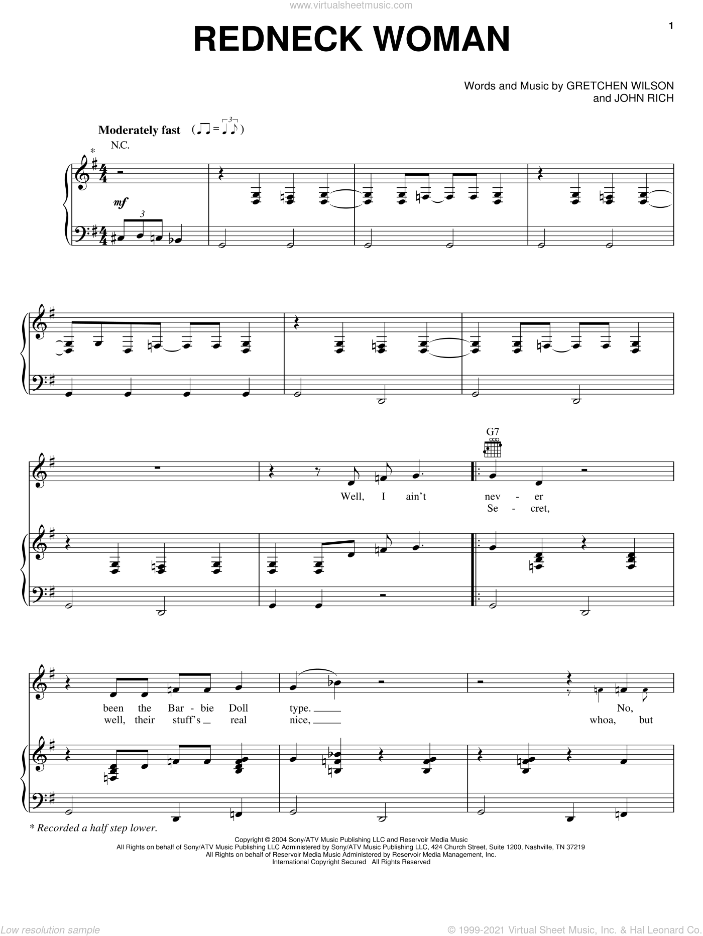 Redneck Woman sheet music for voice, piano or guitar by Gretchen Wilson and John Rich, intermediate skill level