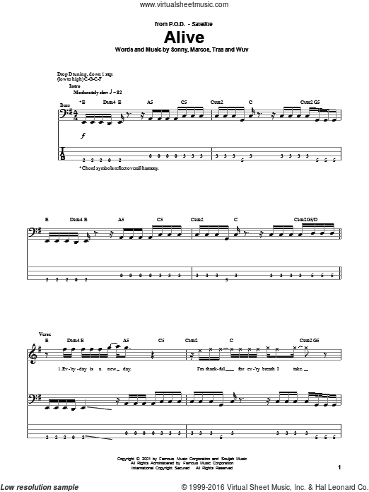 Alive sheet music for bass (tablature) (bass guitar) by Traa