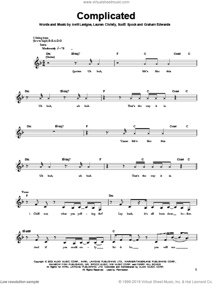 Complicated sheet music for bass (tablature) (bass guitar) by Scott Spock, Avril Lavigne and Lauren Christy. Score Image Preview.